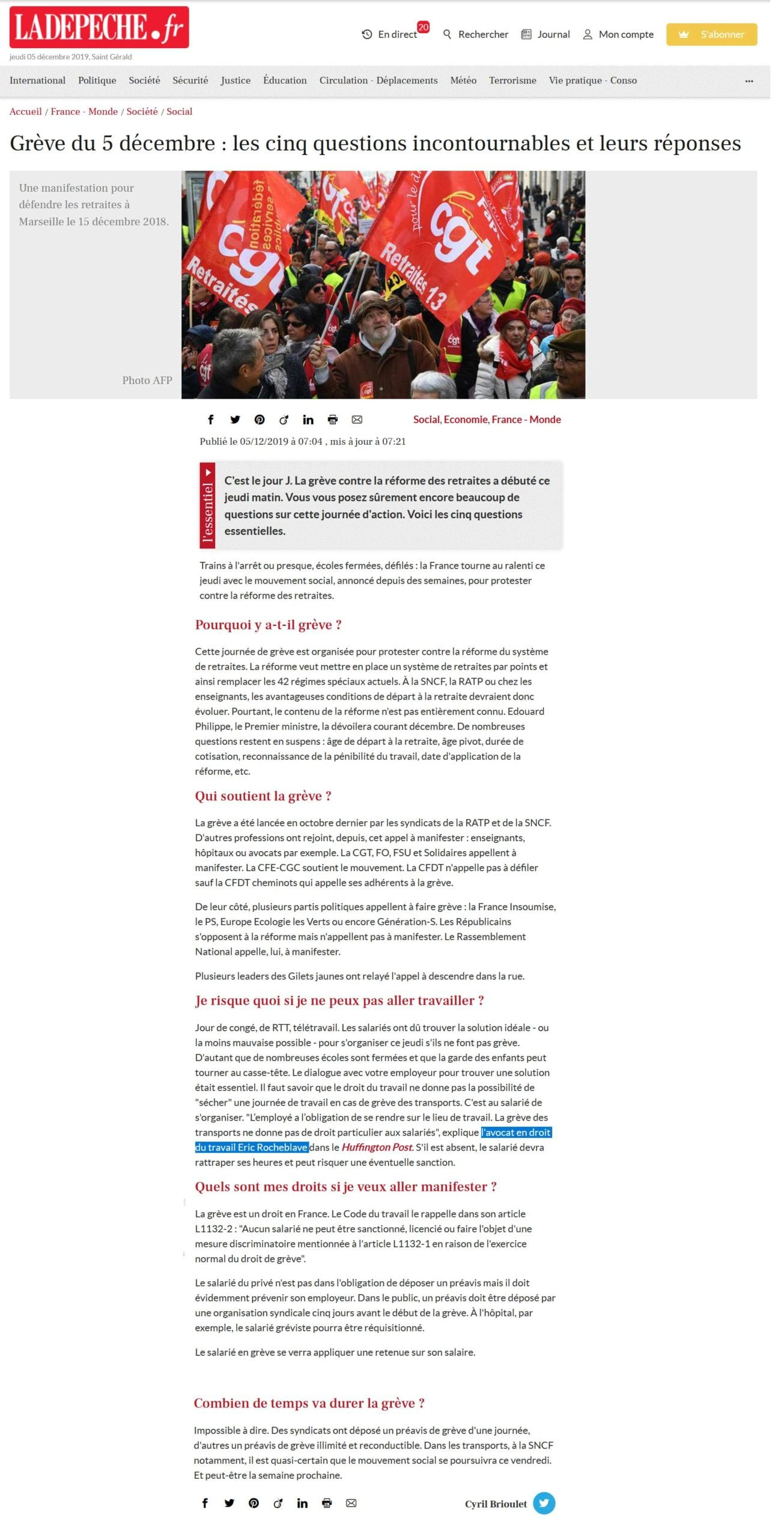 « Grève du 5 décembre : les cinq questions incontournables et leurs réponses » Interview LA DÉPÊCHE Maître Eric ROCHEBLAVE