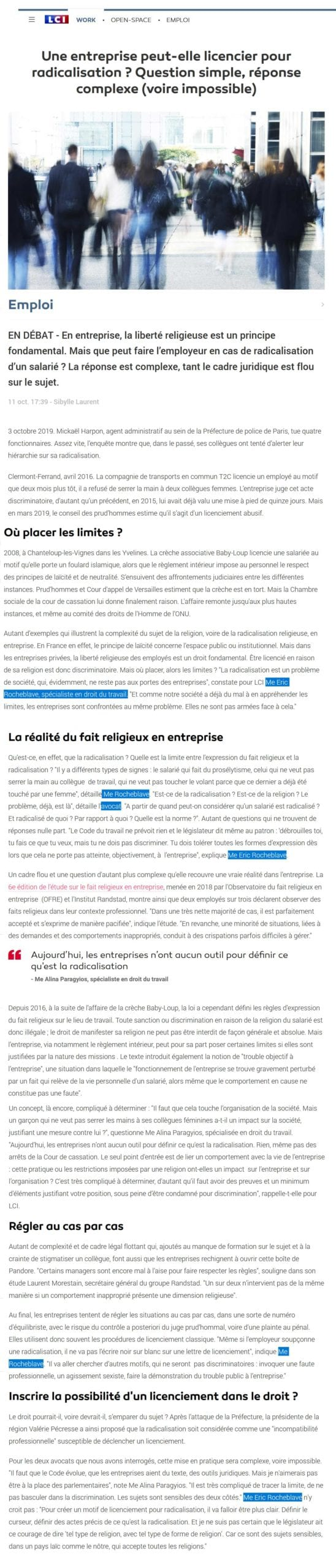 « Une entreprise peut-elle licencier pour radicalisation ? » Interview LCI de Maître Eric ROCHEBLAVE