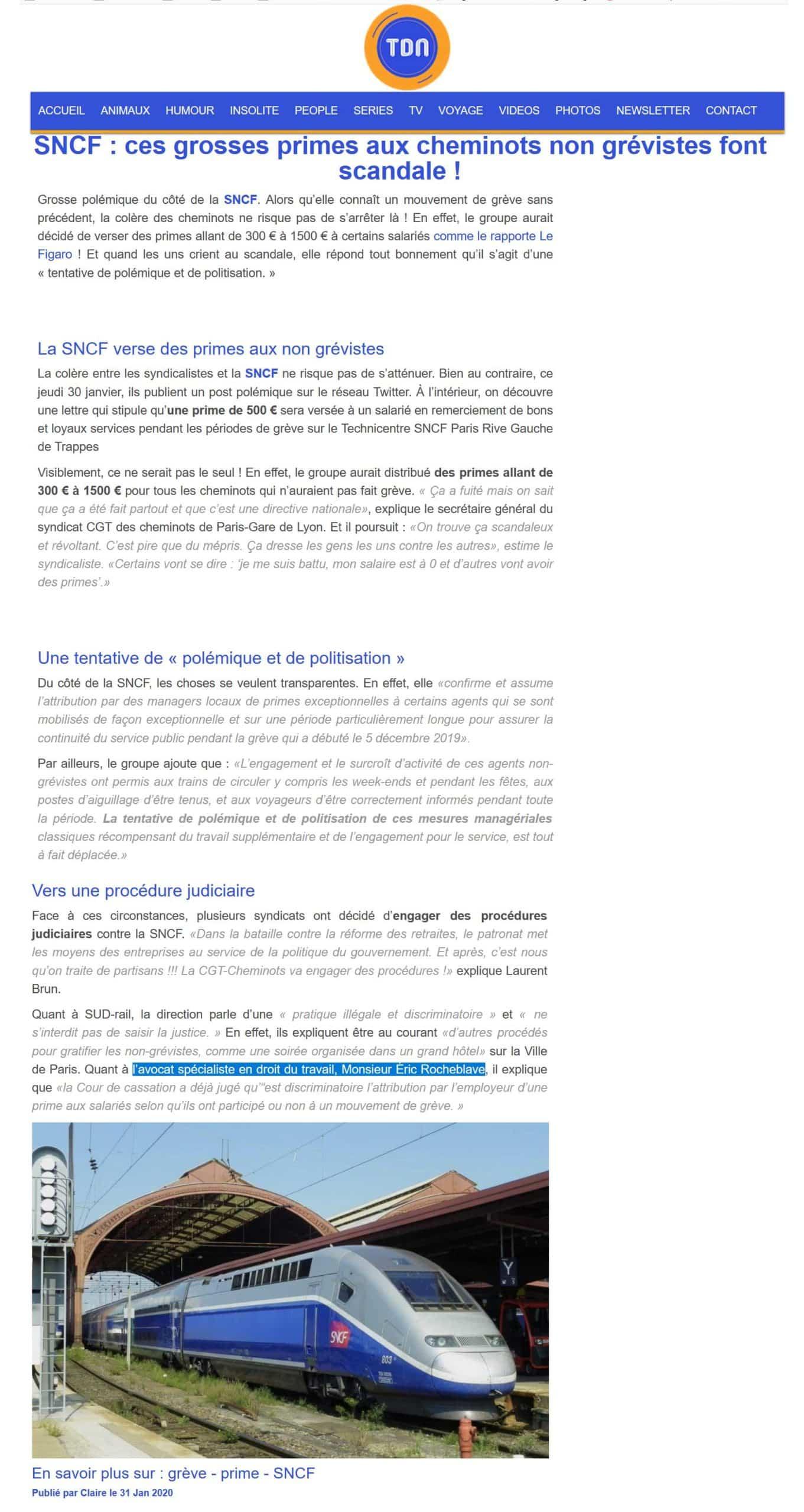 SNCF primes non grévistes