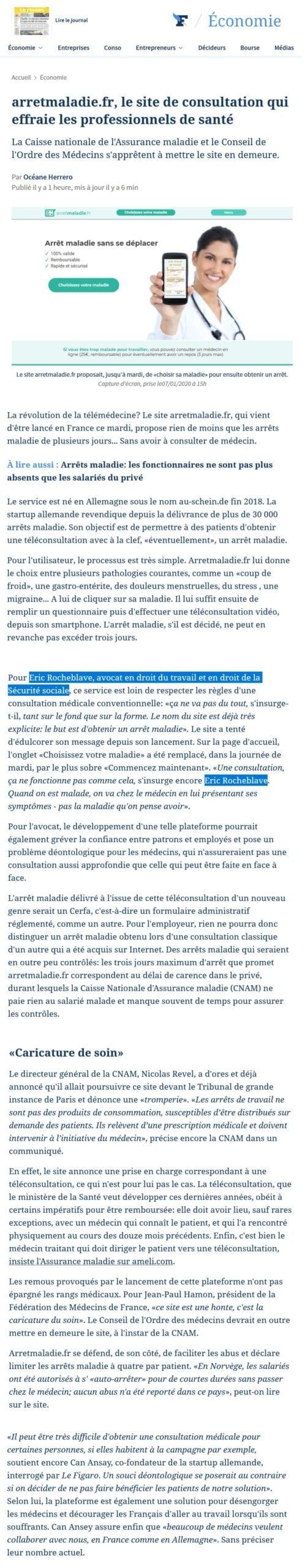 arretmaladie.fr, le site de consultation qui effraie les professionnels de santé » Interview Le Figaro de Maître Eric ROCHEBLAVE