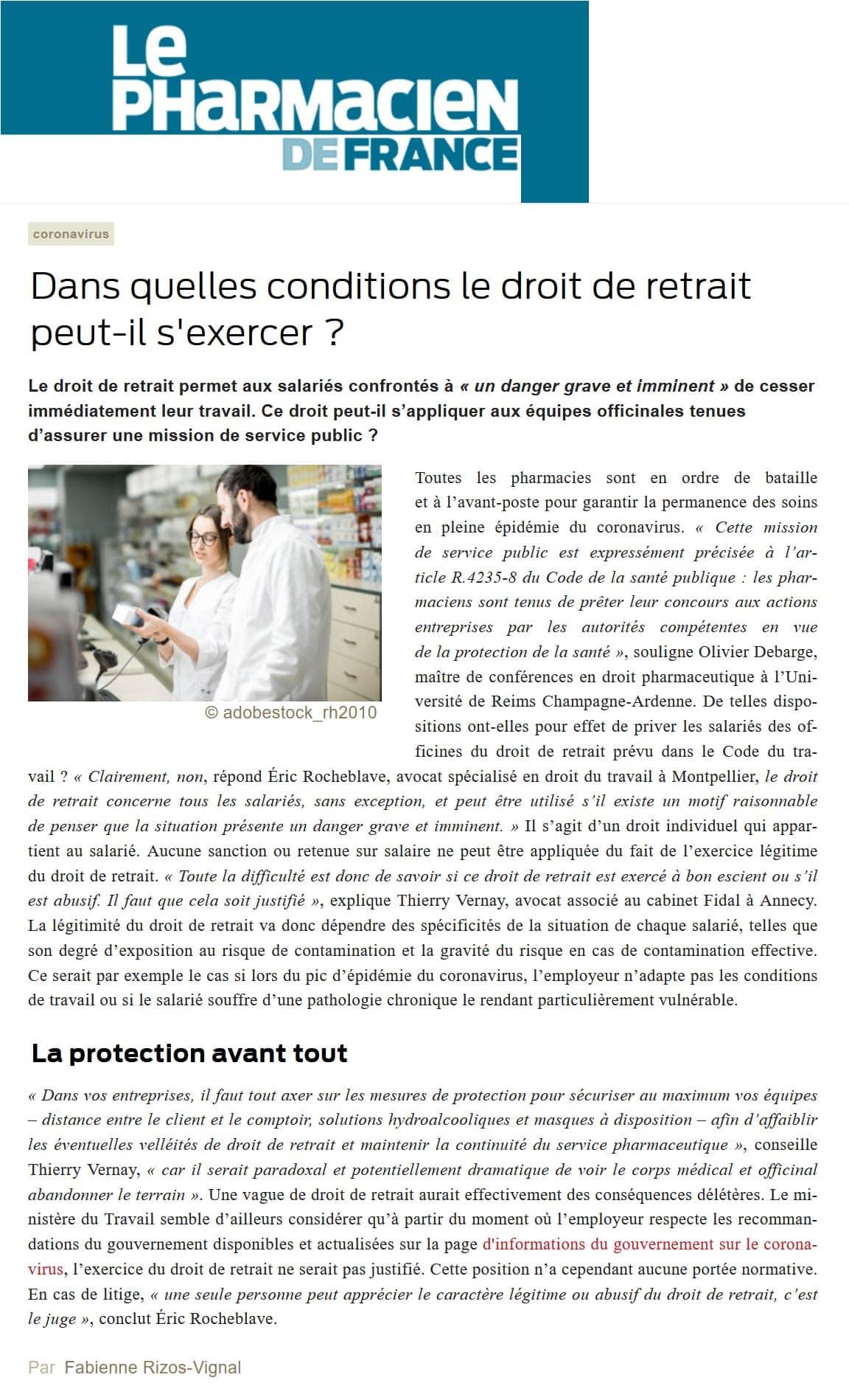 « Dans quelles conditions le droit de retrait peut-il s'exercer » Interview Le Pharmacien de France de Maître Eric ROCHEBLAVE