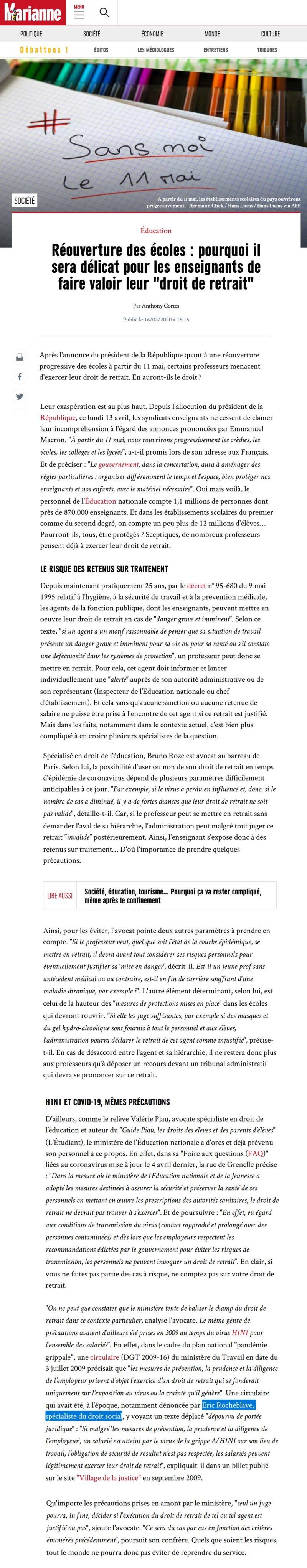 """« Réouverture des écoles : pourquoi il sera délicat pour les enseignants de faire valoir leur """"droit de retrait"""" » Interview Marianne de Maître Eric ROCHEBLAVE"""