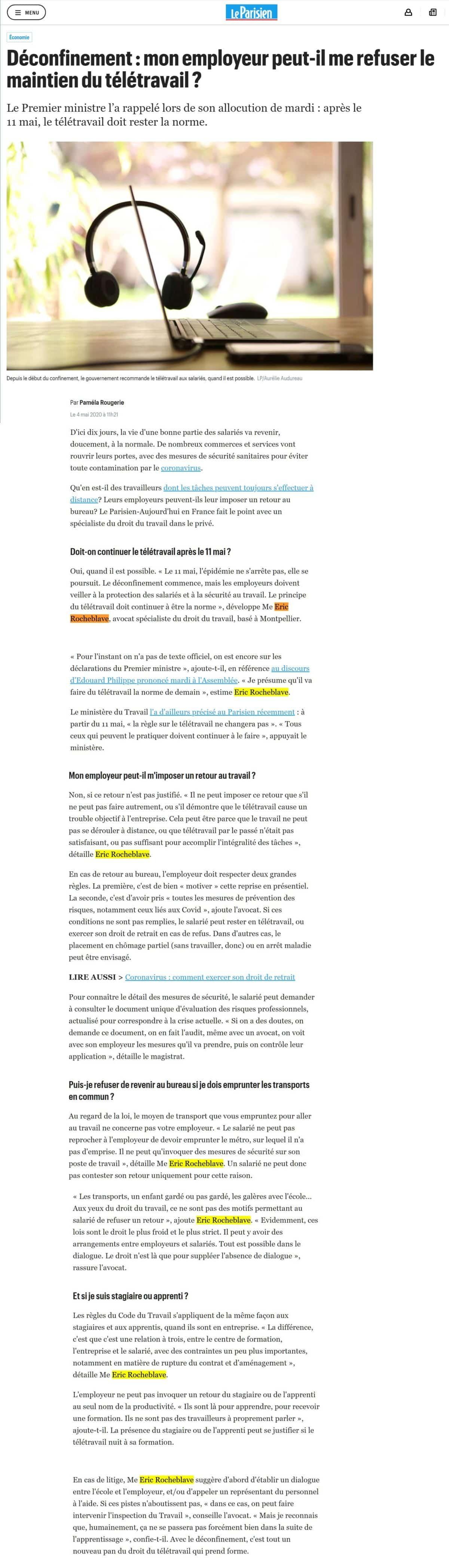 « Déconfinement : mon employeur peut-il  me refuser le maintien du télétravail ? » Interview Le Parisien de Maître Eric ROCHEBLAVE