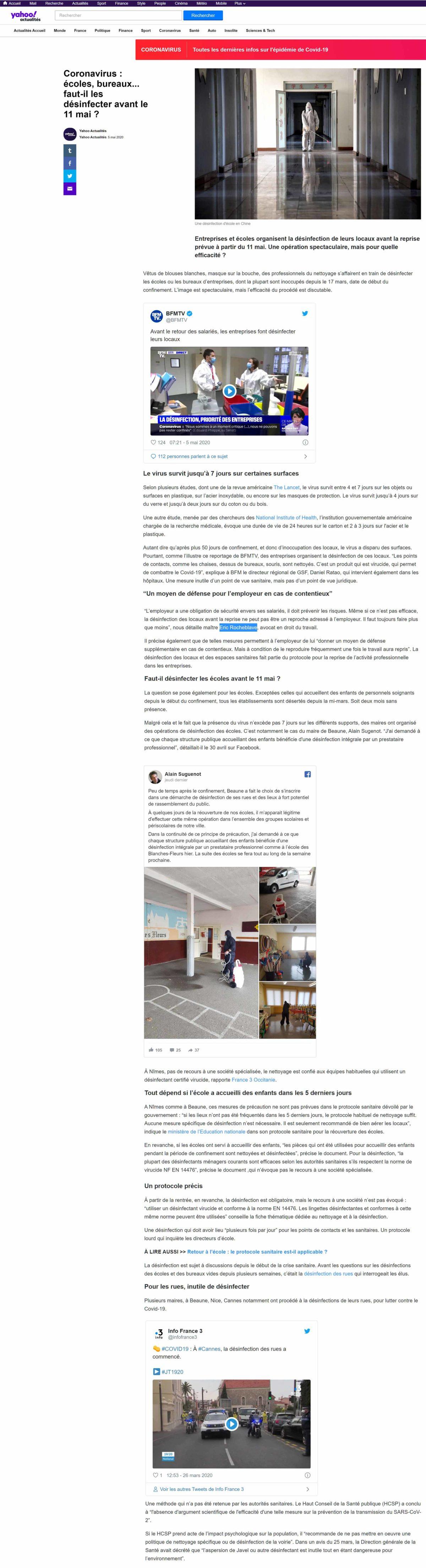 « Coronavirus : écoles, bureaux... faut-il les désinfecter avant le 11 mai ? » interview Yahoo! actualités de Maître Eric ROCHEBLAVE