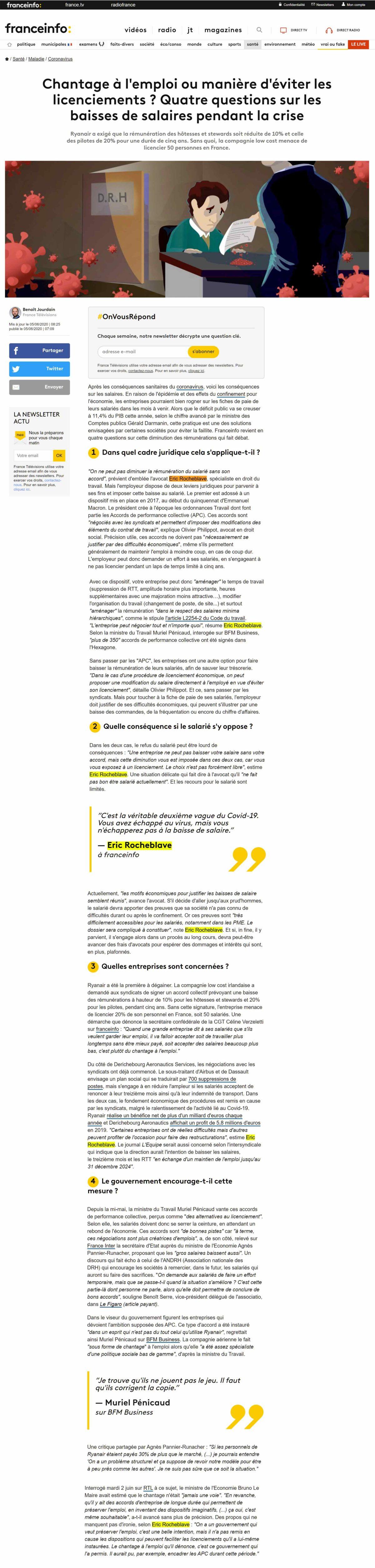 « Chantage à l'emploi ou manière d'éviter les licenciements ? Quatre questions sur les baisses de salaires pendant la crise » Interview franceinfo: de Maître Eric ROCHEBLAVE
