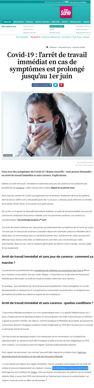 « Covid-19 : l'arrêt de travail immédiat en cas de symptômes est prolongé jusqu'au 1er juin » Interview Top Santé de Maître Eric ROCHEBLAVE